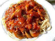 Σπαγγέτι με σάλτσα μανιταριών Cookbook Recipes, Cooking Recipes, Spaghetti, Rice, Pasta, Ethnic Recipes, Food, Cooker Recipes, Essen