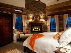 Cosy bedroom with a fireplace! Perfect winter bedroom! #Inspiration #Homedecor