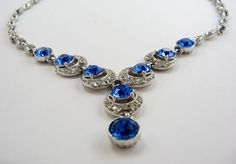 Vintage Bogoff Sapphire Blue Rhinestone Necklace by EcleticVintage, $88.00