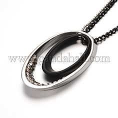 Iron Chain Pendant Necklaces with Alloy Rhinestone Oval Pendants and Iron Lobster Claw Clasps Gunmetal and Platinum 29.3