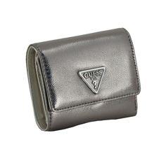 Metallicfarbenes Portmonnaie Guess Sandrine SLG Pewter Bronze Gold, Emblem, Slg, Card Case, Metallic, Wallet, Cards, Pocket Wallet, Sachets