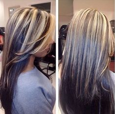 brown black underneath chunky platinum blonde highlights hair color