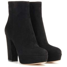 Gianvito Rossi Suede Platform Ankle Boots (1,405 CAD) ❤ liked on Polyvore featuring shoes, boots, ankle booties, ankle boots, heels, black, suede ankle boots, black suede bootie, short black boots and heeled booties
