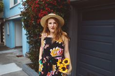 Summer Style Black Floral Jumpsuit and Straw hat check it out here http://whimsysoul.com/black-floral-jumpsuit/