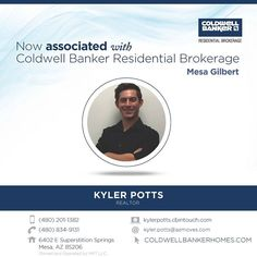 Congratulations to Kyler Potts who recently associated with Coldwell Banker Residential Brokerage at the Mesa Gilbert office. Welcome Kyler. #ColdwellBankerArizona