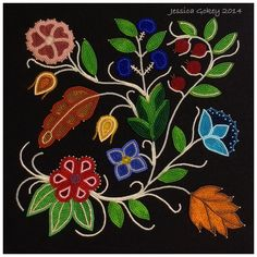 My latest completed project; The Floral Apprentice, measures 12 in by 12 in beaded floral wall art. Jessica Gokey 2014
