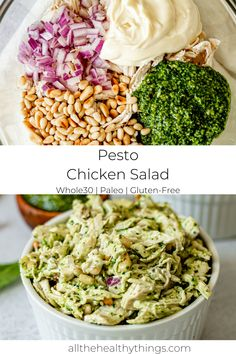 This Basil Pesto Chicken Salad is the perfect quick and easy lunch or snack. - This Basil Pesto Chicken Salad is the perfect quick and easy lunch or snack. You can serve it with - Basil Pesto Chicken, Pesto Chicken Salads, Chicken Salad Recipes, Healthy Salad Recipes, Paleo Recipes, Dinner Recipes, Pesto Salad, Lunch Salad Recipes, Recipes With Pesto