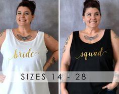 Bride / Squad Tank, Custom Bridal Shirts, Bachelorette Shirts, Plus Size Bridesmaid, Plus Size Shirt, Bride Tribe, Poppin' Bottles