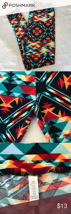 Aztec print TC LuLaRoe leggings Aztec print TC LuLaRoe leggings, worn and washed once, EUC. LuLaRoe Pants Leggings