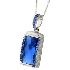 2 Gb Usb Jewel Pendant Necklace Flash Drive Chain & Box