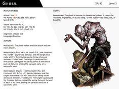 DnD-Next-Monster Cards-Ghoul by dizman