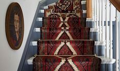 Megan Pflug, style guru behind our Weekend Decorator column, is back with her latest DIY solution—a stunning mix-and-match vintage runner for your stairs. Carpet Runner, Rug Runner, Staircase Runner, Stair Runners, Floor Runners, Where To Buy Carpet, Carpet Stairs, Hall Carpet, Victorian Homes