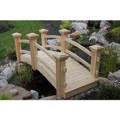Suncast Cedar Garden Bridge- could add so much character to my backyard! Hillside Landscaping, Landscaping Ideas, Mailbox Landscaping, Outdoor Landscaping, Drainage Ditch, Lawn Sprinklers, Free Plants, Garden Statues, Outdoor Projects