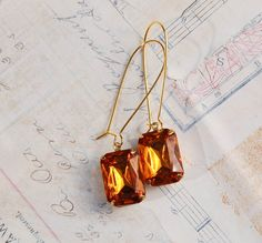 Amber Crystal EARRINGS Jewel Vintage Style Autumn Gold