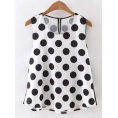 Cool Women Sleeveless O Neck Polka Dots Tank Top Casual Vest - NewChic Mobile. Dressy Lace Tops, Fashion Sale, Womens Fashion, Polka Dot T Shirts, Look Plus Size, Long Tank Tops, Casual Outfits, Fashion Outfits, Maternity Tops