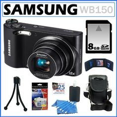 Samsung WB150 14.2MP WI-Fi Digital Camera with 18x Optical Zoom and 3-inch LCD in Black + 8GB Memory Card + Camera Case + Accessory Kit by Samsung, http://www.amazon.com/dp/B007CKM8DS/ref=cm_sw_r_pi_dp_cFXrrb0PAWE80