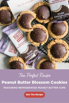 Topped with our fan-favorite Dark Chocolate with Sea Salt Refrigerated Peanut Butter Cups these Peanut Butter Blossom Cookies are a two-in-one dessert didn't know you needed. Give them a try today! Fun Baking Recipes, Sweet Recipes, Cookie Recipes, Dessert Recipes, Yummy Treats, Delicious Desserts, Sweet Treats, Yummy Food, Tasty