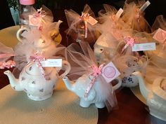 Teapot centerpieces I made for Tea Party baby shower theme.