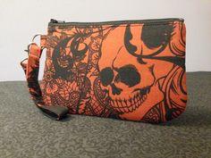 Red After Dark Wristlet #handmade #handmadebags #skullbags #macabrebags #skulls #macabre