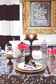 Glam Halloween Tablescape by House of Creative Designs, Halloween Tablescapes and Party Ideas via House of Hargrove