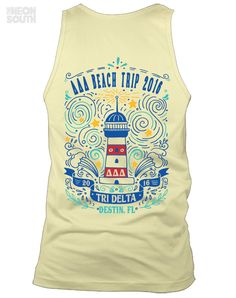 Fresh New Designs!! Visit our site to get your customized order started. Tri Delta | Beach Party | Lighthouse | Spring Break | Sisterhood Retreat | Sorority Shirts | Sorority Tees | Sorority Tanks | Greek Tees | Greek Tanks | Sorority Shirt Ideas | Greek Shirts