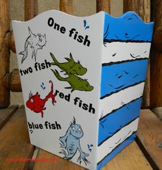 Dr Seuss One Fish Two Fish Red Fish Blue Wastebasket Trash Can www.funkyletterboutique.com
