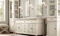 Serene bathroom with beadboard detailing and  dressing stool | Restoration Hardware