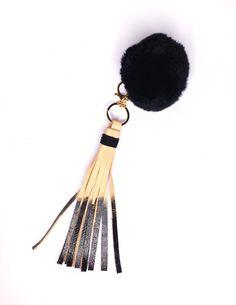 Black Leather Tassel with Pom-pom // Stylish Keychains // FUN Leather accessories handmade by StudiOH, Shoppe!