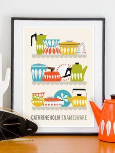 Kitchen art cathrineholm poster, kitchen print, Art for Kitchen,  Mid century poster, Cathrineholm Enamelware A3