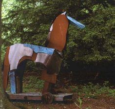 Oak & Pat Copper, Cor-Ten & Rimkex Steel #sculpture by #sculptor Antonia Spowers titled: 'Trojan Horse (abstract Steel garden/Yard sculptures)'. #AntoniaSpowers