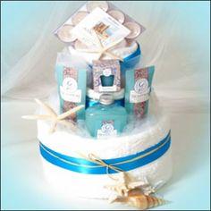 Bridal shower - Cuter beach-themed towel cake gift or centerpiece idea.