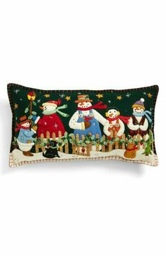 New World Arts Five Snowmen Accent Pillow Christmas Cushions, Christmas Pillow, Felt Christmas, Handmade Christmas, Snowman Crafts, Felt Crafts, Snowman Quilt, Felt Pillow, Felt Stocking