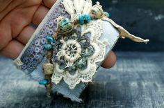 Fabric Wrist Cuff Bracelet Vintage lace Vintage by moonwingcrafts