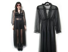 70s 80s Black Sheer Maxi Dress // Long Black by HowToCatchaGhost