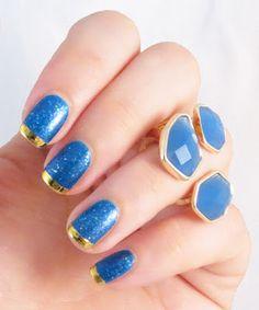 bleu et or - le nail art inspiré par une bague