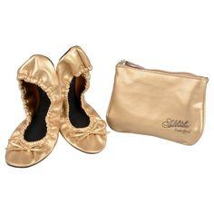 Women's Sidekicks Round Toe Foldable Bow Ballet Flats - Gold X Large, Size: XL