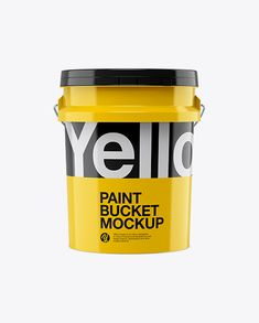 Glossy Paint Bucket Mockup - Front View in Bucket & Pail Mockups on Yellow Images Object Mockups Paint Plastic, Glossy Paint, Paint Buckets, Phone Mockup, How To Make Logo, Free Fonts Download, Bottle Mockup, Business Card Mock Up, Mockup Templates