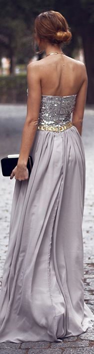 metallic long formal dress #strapless #silver