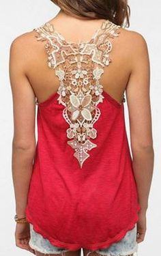 Sweet Scoop Neck Sleeveless Back Openwork Lace Backless Summer Tank Top For Women
