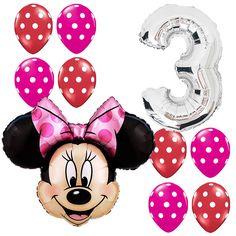 3rd Birthday Party Supplies Minnie Mouse Third Foil Balloon Polka dots Pink&Red #Anagram #BirthdayChild