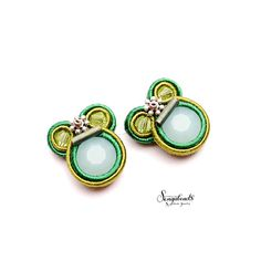 Small soutache stud earrings in forest green ivy and by Sengabeads
