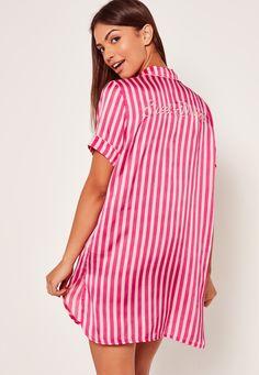 Missguided - Striped Slogan Nightshirt Pink