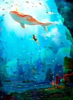 晓鱼 One boy who can only live under the water for short times, and girl who's part of a hidden people who can only live under the water.