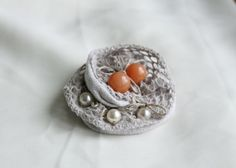 textile brooch  together with abeads of a by olesyablanche on Etsy, $15.00