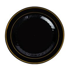 9 Inch Plastic Plates in Black with Gold Rim/Case of 120