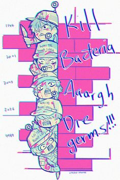 """wbc dork squad in a wall; from the eldest to the baby wbc tw: blood Prettttyyy sure that their numbers correspond to their """"age"""" if they have one, which, you gotta give a lot of credit, cus wow,. Fanarts Anime, Manga Anime, Anime Art, Izu, White Blood Cells, Satsuriku No Tenshi, Work Memes, Anime Shows, Me Me Me Anime"""