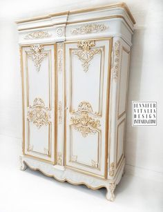 Antique French Armoires Rococo Luxury Wedding Armoires Cream and Gold HandPainted. - Vintage French Armoires – Cream and Gold HandPainted By Jennifer Vitalia Design - Rococo Furniture, Gold Furniture, Office Furniture Design, Shabby Chic Furniture, Shabby Chic Decor, Painted Furniture, Antique French Furniture, Furniture Ideas, French Armoire