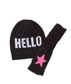 Me.N.U. Girls Black Pink Star Gloves