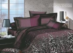 Attractive Brown Florals Printed 4 Piece Comforter Sets with 100 Percent Cotton