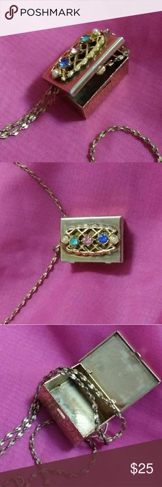 Vintage Necklace Vintage Necklace tiny faux jeweled box on a medium chain soooo adorable box opens with a great working latch Jewelry